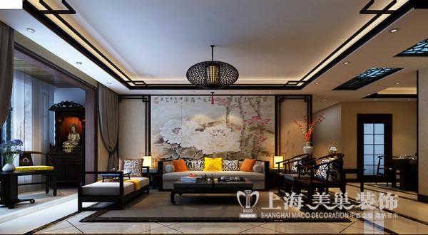 天骄华庭装修样板间效果图赏析三室两厅新中式风格设计——客厅沙发背景墙布局设计