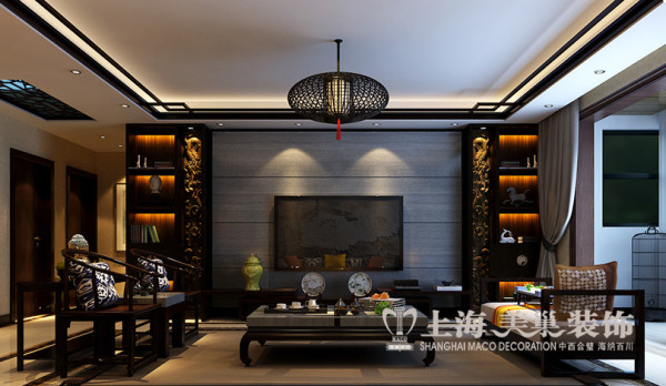 郑州天骄华庭装修效果图赏析新中式风格设计三室两厅143平案例——客厅电视背景墙设计