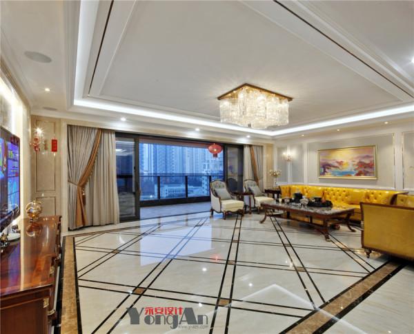 客厅运用新古典风格的装饰,虽然没有巴洛克装饰所具有夸张与动感的气息,却将客气气质演绎的相对稳定,橙黄色的大沙发在整个空间中增添了视觉效果,同时也增补了贵族般的气质.