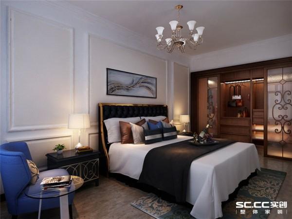 卧室是日常休息的地方,在放松的同时,卧室也是关键的储藏空间。整体的色调以温馨为主,在床头背景墙也用石膏线做了简单的造型,丰富了整体的空间,与客厅的造型做了简单的呼应。