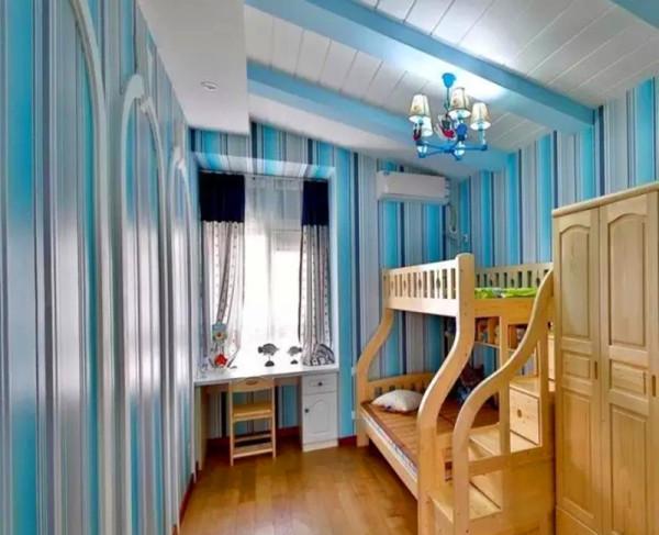 男孩房蓝色调,竖条纹墙纸可以增高视觉感受,松木儿童家具。