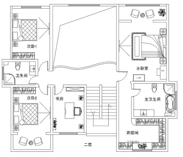 郑州东方金典400平别墅装修新中式案例——户型平面布局2楼