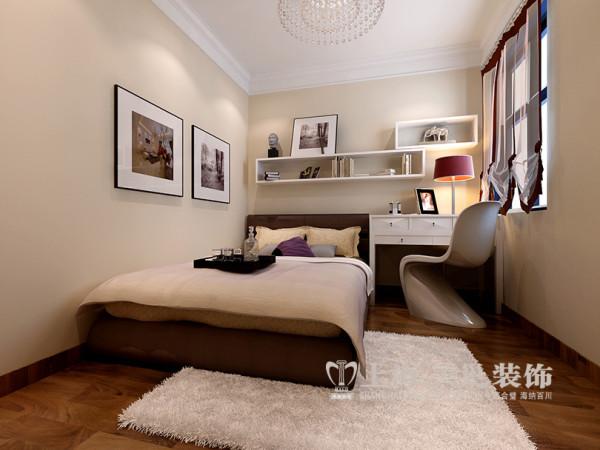 贰号城邦现代装修89平两室两厅效果图案例——卧室布局,实现休闲、收纳和娱乐的功能。