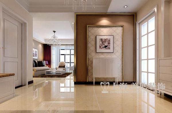 建业贰号城邦2室2厅装修现代简约89平样板间效果图——玄关效果图