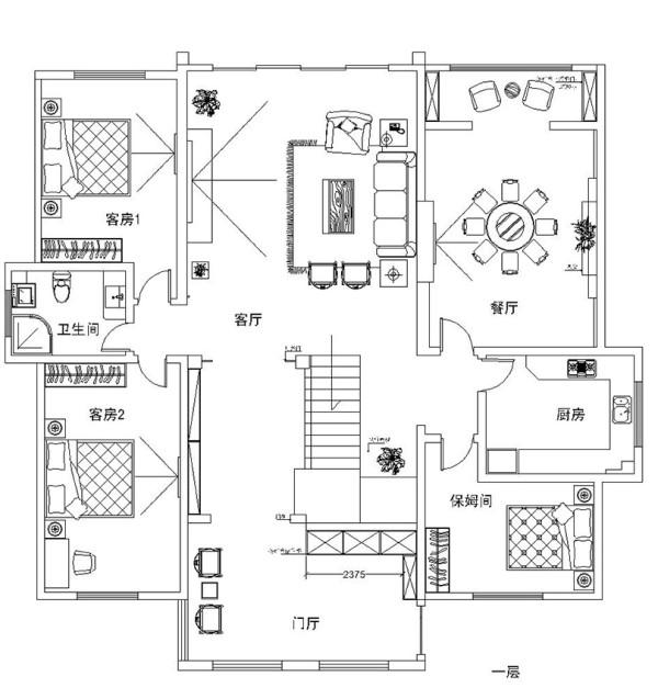 东方金典7房400平别墅新中式装修样板间——平面布局方案1楼