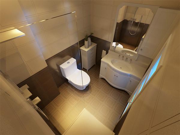 卫生间采用AB版铺贴的方式为主,采用跟沙发一个材质的皮纹砖为主,显得略微的与众不同。