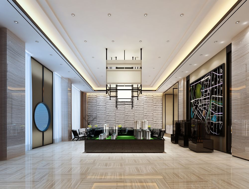 工装制作_工装办公新中式风格客厅