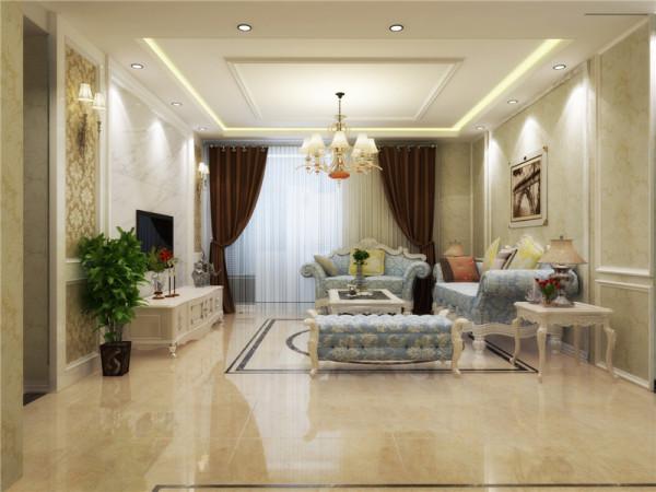 客厅的双层吊顶,足以展示了欧式浪漫与奢华的特点;电视背景墙见到利落的造型,彰显了欧式的尊贵和雅致,同时与沙发背景墙的石膏线造型相呼应,整体统一。