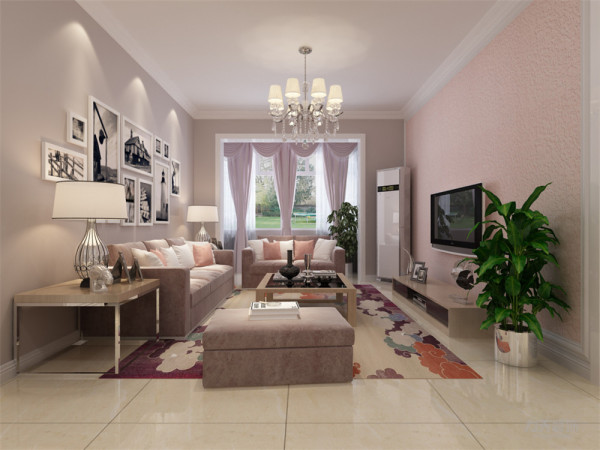 电视背景墙,我们采用了淡粉色做背景墙的装饰景墙则采用了蓝色油漆饰面,再加以米色沙发,点缀网格图案鲜艳的抱枕,搭田园风格白色油漆茶几,配以富有田园气息的地砖,显得清新、素雅。