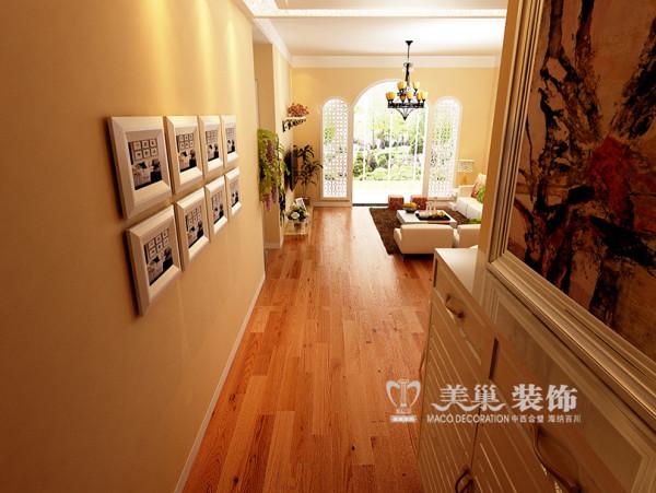 南阳宇信凯旋城装修效果图田园风格设计案例——2室2厅户型走廊布局设计
