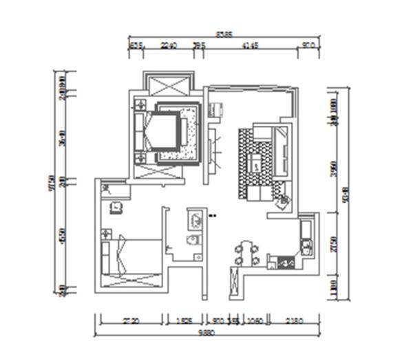 南阳宇信凯旋城装修效果图平面户型图——两室两厅86平居室布局设计