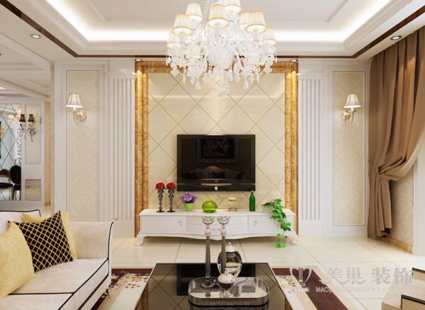 光达宛都名邸156平三室两厅装修简欧效果图——电视墙设计,家具的选择,与硬装修上的欧式细节应该是相称的,选择深色、带有西方复古图案以及非常西化的造型的平安家具,与大的氛围和基调相和谐。