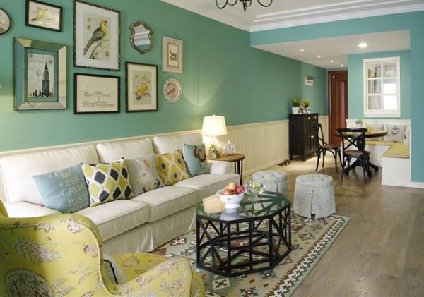 黄色花布配基里姆格几何图形地毯,丰富布艺元素与色彩层次