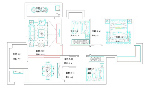 简约 小资 现代风格 户型图图片来自河南美巢装饰在桂花城146平方现代