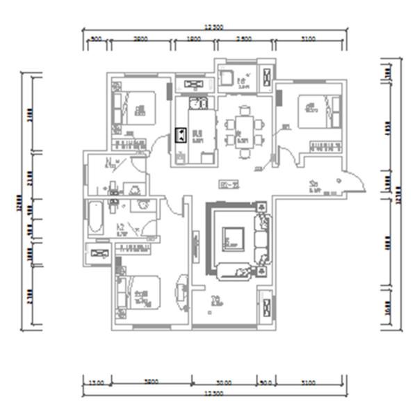 南阳建业森林半岛装修效果图平面户型图——三室两厅户型140平案例居室设计