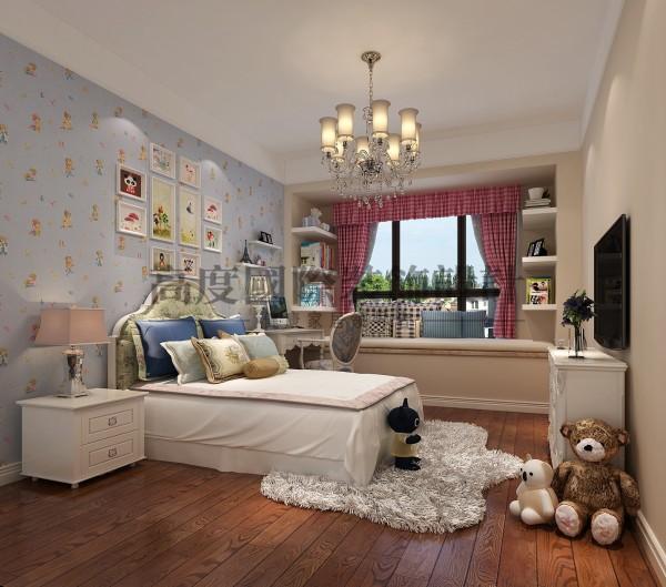 【高清】南湖国际 清新美式 卧室装修效果图 成都高度国际装饰设计