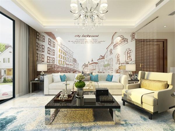 在客厅的电视背景墙上采用,只是简单的硬硬包造型,用不锈钢来装饰,从而突出简约但并不简约的感觉。在沙发的背景墙,则采用3d立体墙纸,使整个空间具有近身感。