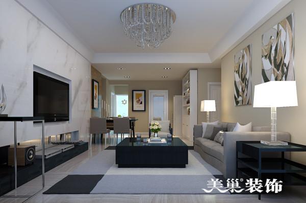 郑州启福尚都装修效果图现代简约风格设计案例鉴赏——客餐厅全景设计