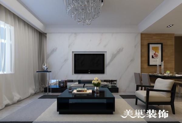 郑州启福尚都装修效果图赏析——客厅电视背景墙设计