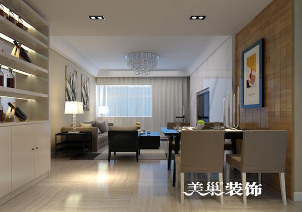 郑州启福尚都装修样板间效果图——三室两厅户型案例设计餐厅布局