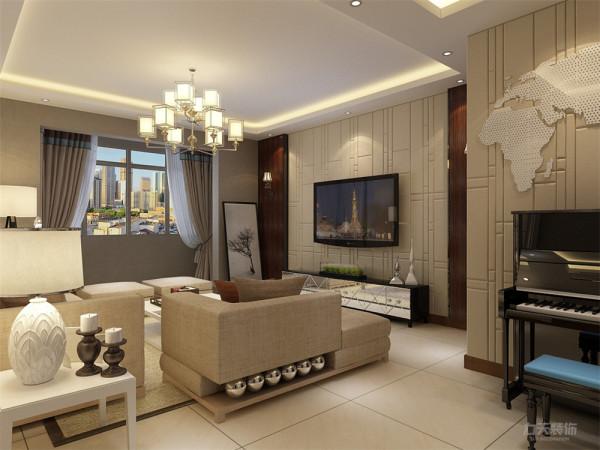 客厅中电视背景墙运用了高密度板拉缝做造型,贴在原墙上既美观又能起到隔音作用,沙发背景墙运用了白的回子形图案作为造型,这样的造型除了美观外还能折射音量。