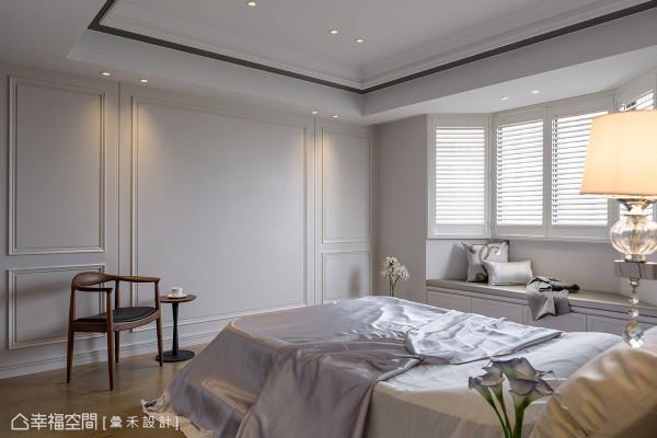 优美线板、窗下的卧榻与木百叶的设计元素,成功营造简约美式新古典的氛围。