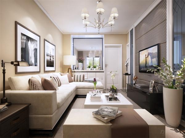 在电视墙的设计上,我们采用了黑镜和硬包的组合,使得现代感十足,在沙发背景墙上我们没有过多的装饰,采用了两幅简单的挂画加以装饰。
