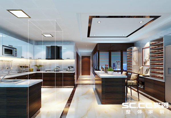 厨房空间足够大,可以把橱柜做成U字型,烟机灶具洗菜盆等有了更多的空间来布局,地柜、吧台、酒柜采用胡桃色的横条纹木,空间稳重简洁大方,同时厨房以现代风格来展现更适合现代人的使用习惯,