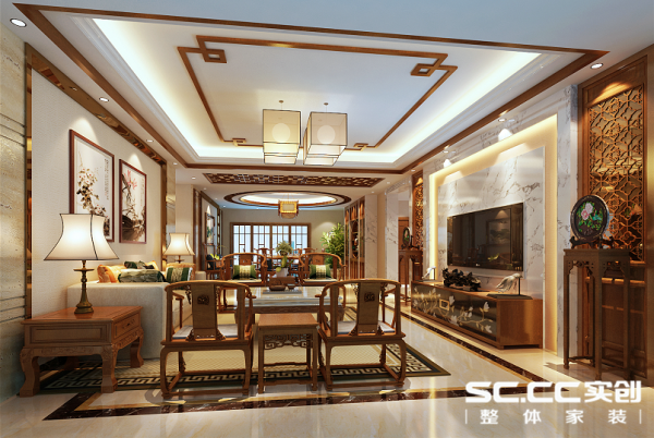 客厅空间层次分明,错落有致,融合了庄重和优雅双重气质。电视背景墙以大理石为基调,外秀慧中的大理石天然纹路,大气中透出细腻。中式风格建筑结构多讲究对称,沙发背景悬挂中国水墨画,彰显主人好品味。