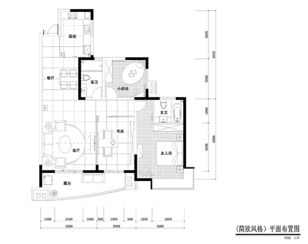 南阳宇信凯旋城煮给你修效果图平面户型图——124平三室两厅户型布局