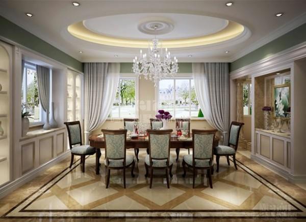 多口之家的餐厅设计,最重要的是布局要合理。空间要足够容纳全家人就餐及亲朋好友聚餐的需求,所以设计师没有在装饰细节上下太多功夫,而是把重点放在了餐厅使用面积的扩充和功能性的拓展上,将客厅和餐厅打通,