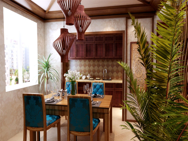 餐厅以竹笼式三个小吊灯,搭配鸡翅木制作的餐桌,靠背椅搭配孔雀绿颜色布艺靠背,与沙发背景遥相呼应。