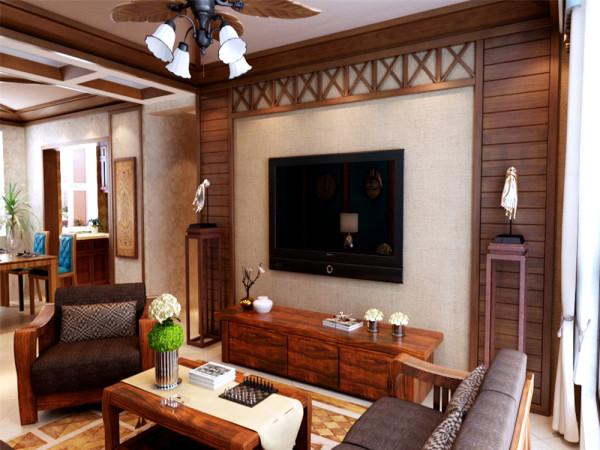 本案以鸡翅木纹理木线的流线型作为整体设计的切入点,以线条的直线美感搭配有厚重文化气息与质感的东南亚风格家具,营造出整个空间中文化气息与现代感结合的温馨之家。