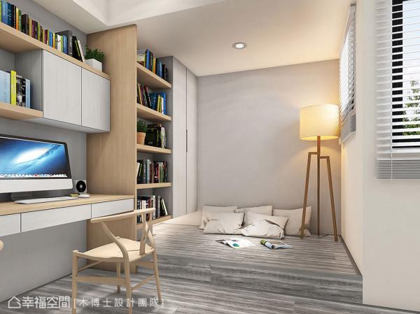 接续木地板材质架高规划卧眠区,透过色泽肌理的延伸扩大,放大整体空间感。 (此为3D合成示意图)