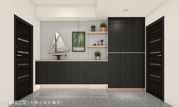 透过柜体与层架的色系、量体对比,创造出立面的设计趣味,更辅以层架打灯设计,将目光凝聚于层架上的珍藏艺品。 (此为3D合成示意图)