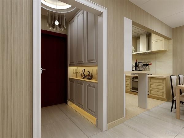 在玄关的处放置了一个通体的鞋柜,并在鞋柜的中和下方都设置灯带来增加空间的亮度。
