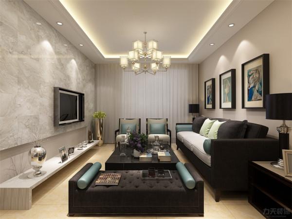 客厅设计讲究的是简约、稳重,深色的电视柜,玻璃的茶几,餐桌使得整个空间即稳重又清新,布艺的沙发为空间增添温暖简洁干净的气息,沙发两侧分别有一个沙发柜,放置了台灯。