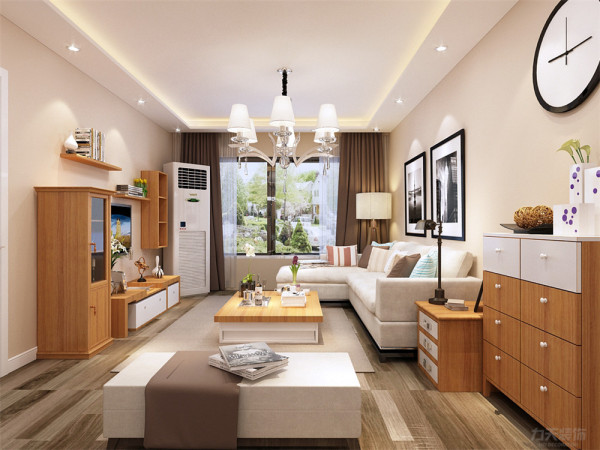在电视墙的设计上,我们采用了木色柜式的组合搭配,构成了别具特色的电视背景墙。在整体家居的配饰上我们采用了木色加烤漆白的搭配。再加上温馨的米色,温暖干净而又浪漫的居家环境。