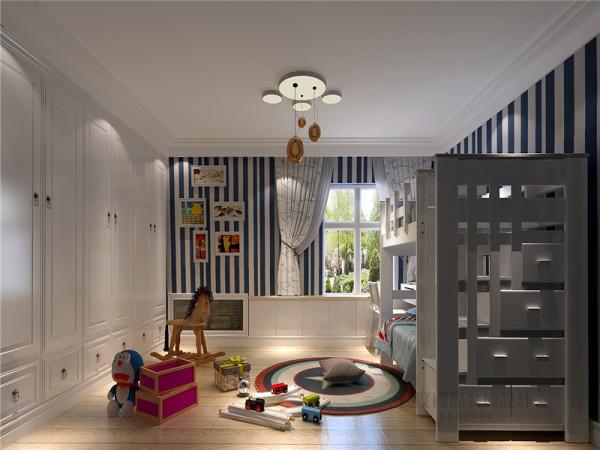 现代风格儿童房设计中将实用性和美观性很好的结合,给人一种愉快的审美经历