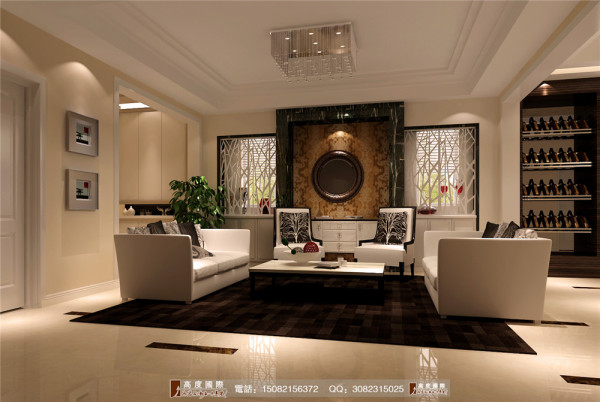 恒大金碧天下地下一层客厅细节效果图---高度国际装饰设计