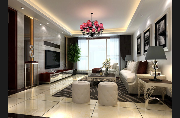 空间整体上,充满着华丽大气的简约风情。在通透而灵活的空间布局中,运用了精致而唯美的家具以及软装饰品来填充空间,使之达到内外统一的效果。