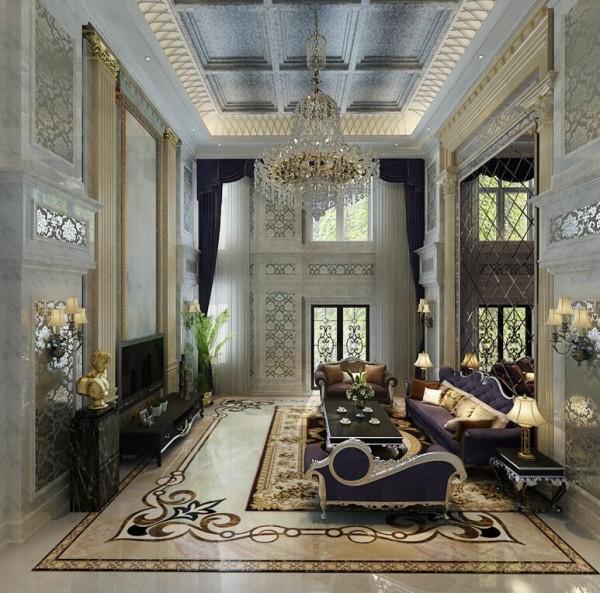 紫色是一种高贵而典雅的色彩,窗帘以及沙发采用这一色系,两者遥相呼应,点缀了空间的美感。再加上金色、银白色,高级灰等色彩加强空间的层次感,使得客厅的装饰像极了一个打扮得雍容华美的贵妇。
