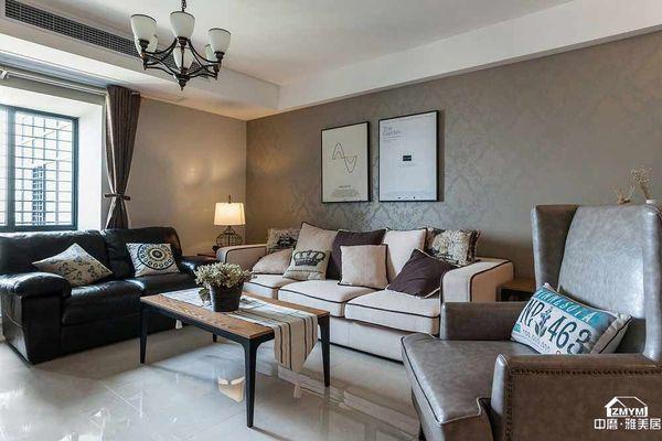 客厅使用布艺元素和墙画,色调很和谐。