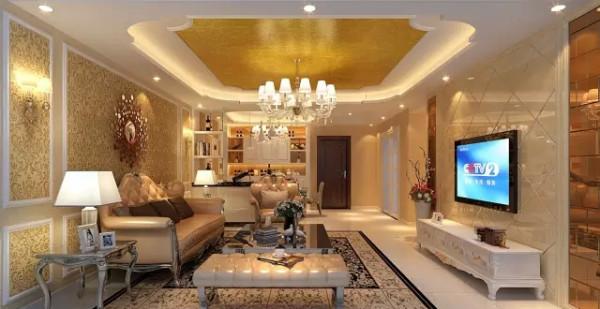 整个客厅以通透的视线为主,电视墙面运用到菱形设计,简欧奢华却又不失现代化元素。金色的窗帘、米黄色的沙发与浅黄色的大理石地板、华贵但不雍容,奢华却不高调,精致而不繁杂。重现路易时期的辉煌。