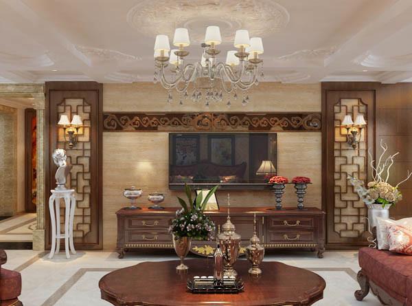 欧式沙发与护墙板的合理运用使整体设计看起来高端有档次。