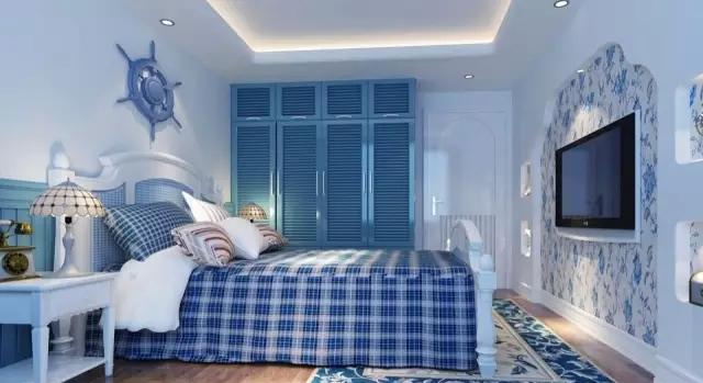 卧室用了大片业主喜欢的蓝色,整体采用浅蓝色的地中海