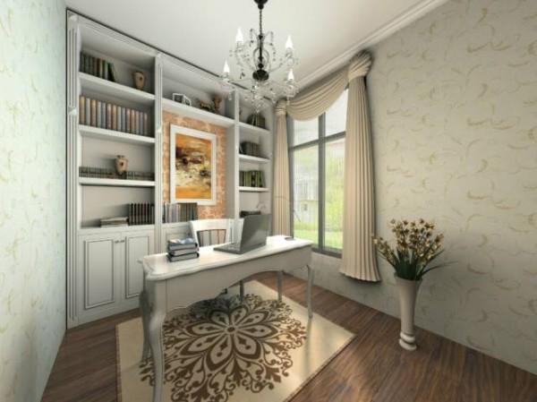 书房空间比较小,并没有采用满壁的书柜,避免拥挤,适当的用了地毯,饱和整个空间。