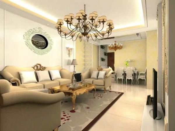 以暖色调为主,凸显出家的温馨和浪漫,电视背景墙面使用菱镜做装饰,使整个空间更具有延伸感,让原本狭小的空间变得宽阔起来。