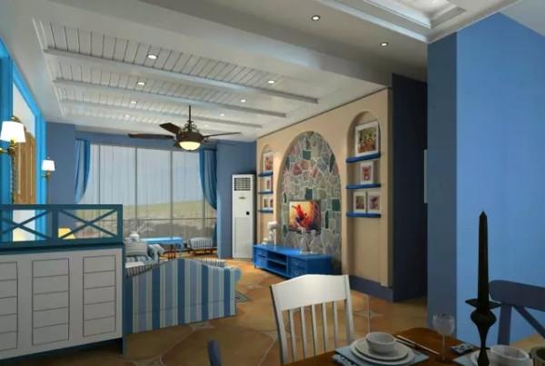 客厅一开始采用的是比较素雅的电视背景墙,业主表示希望背景墙的颜色稍微跳脱一点,给整个房间多一点活力。于是设计师采用了拼色文化石的设计。