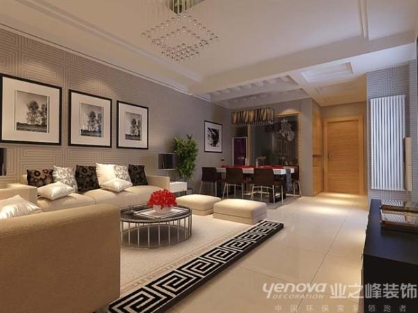客厅中壁纸巧妙的和木质混油搭配的画面,整体空间层次分明,简单的格调更加有效地表现出空间感,